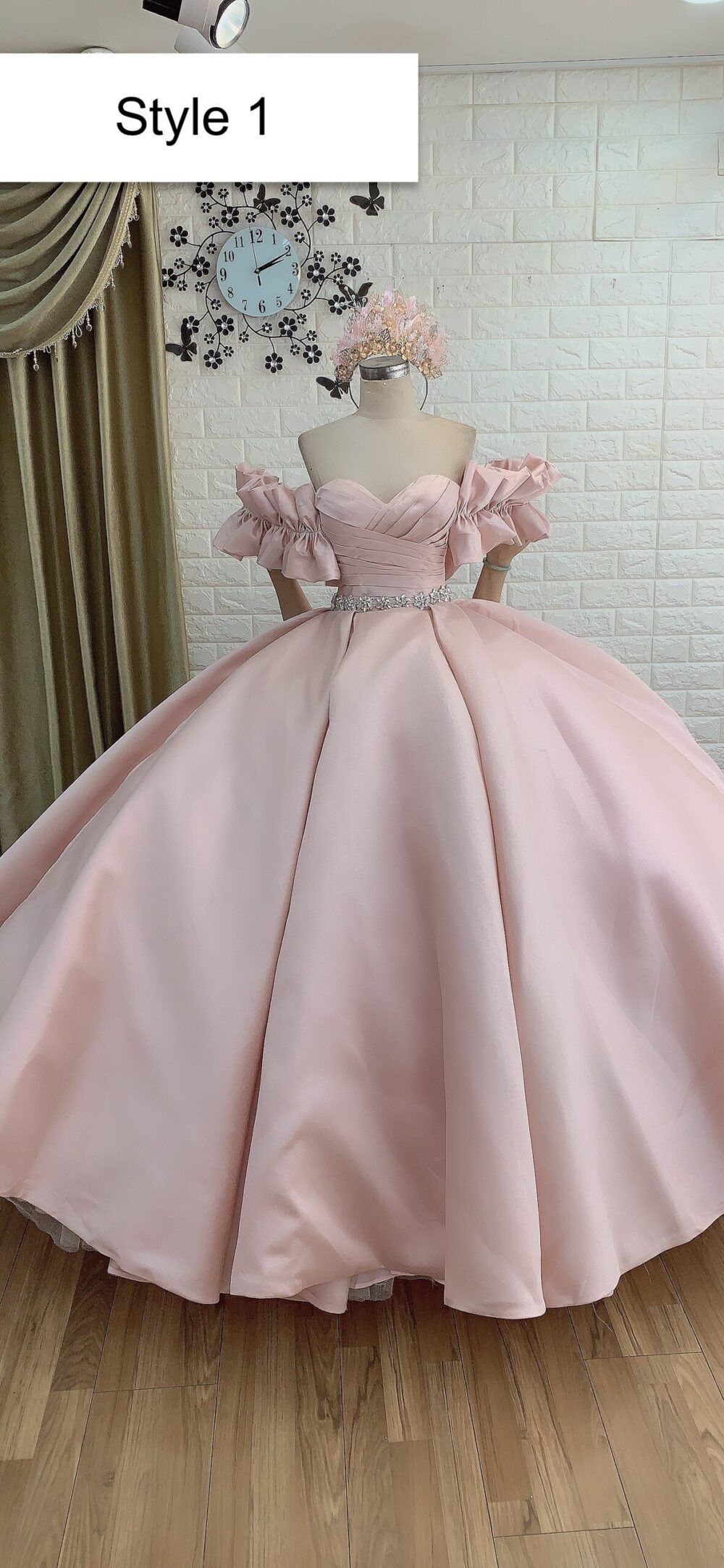 Blush Pink Satin Ball Gown Wedding Dress With Ruffled Sleeves Or Short - Various Styles