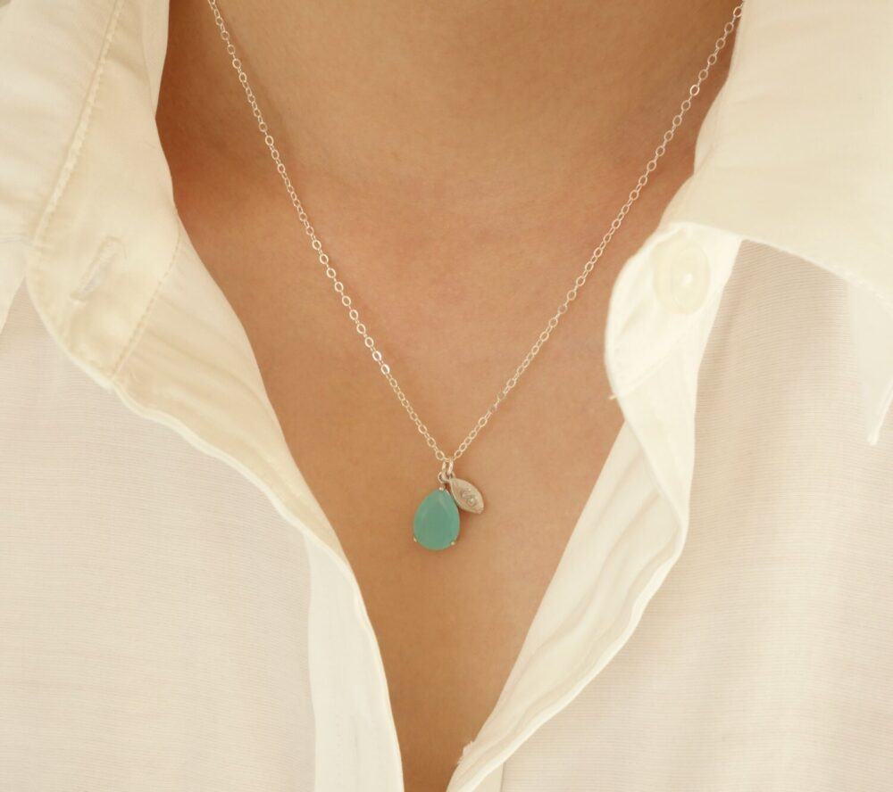Wedding Gift Initial Necklace Personalized Cz Drop Bridesmaid Bridal Jewelry Personalize Blue Green Pastel