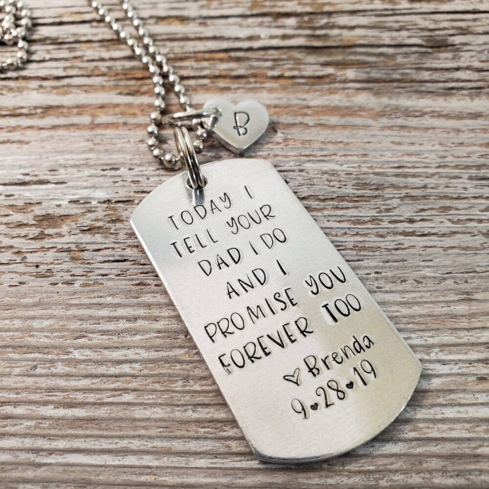 Stepson Wedding Gift Necklace Keychain Stepdaughter Initial Charm Today I Tell Your Dad Do & Promise You Forever Too Blended Family