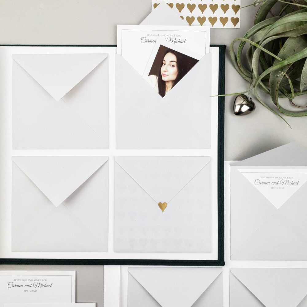 Minimalist Wedding Envelope Guest Book With Wishes & Advice Cards For Instax Pictures, Photo Guest Ideas, Advice