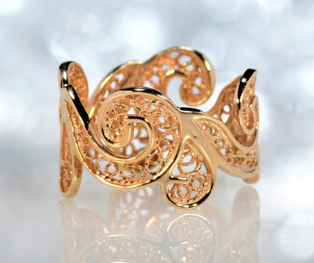 18K Rose Gold Wedding Ring Filigree Vintage Band For Women Bridal Lace Unique Anniversary
