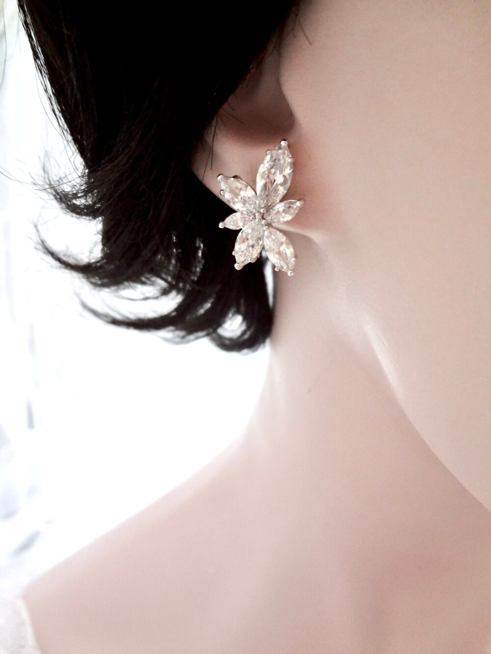 Bridal Earrings, Cz Dainty Marquise Leaf Wedding Stud Earrings For Bride Bridesmaids Mother Of The Gift For Her. Lilly