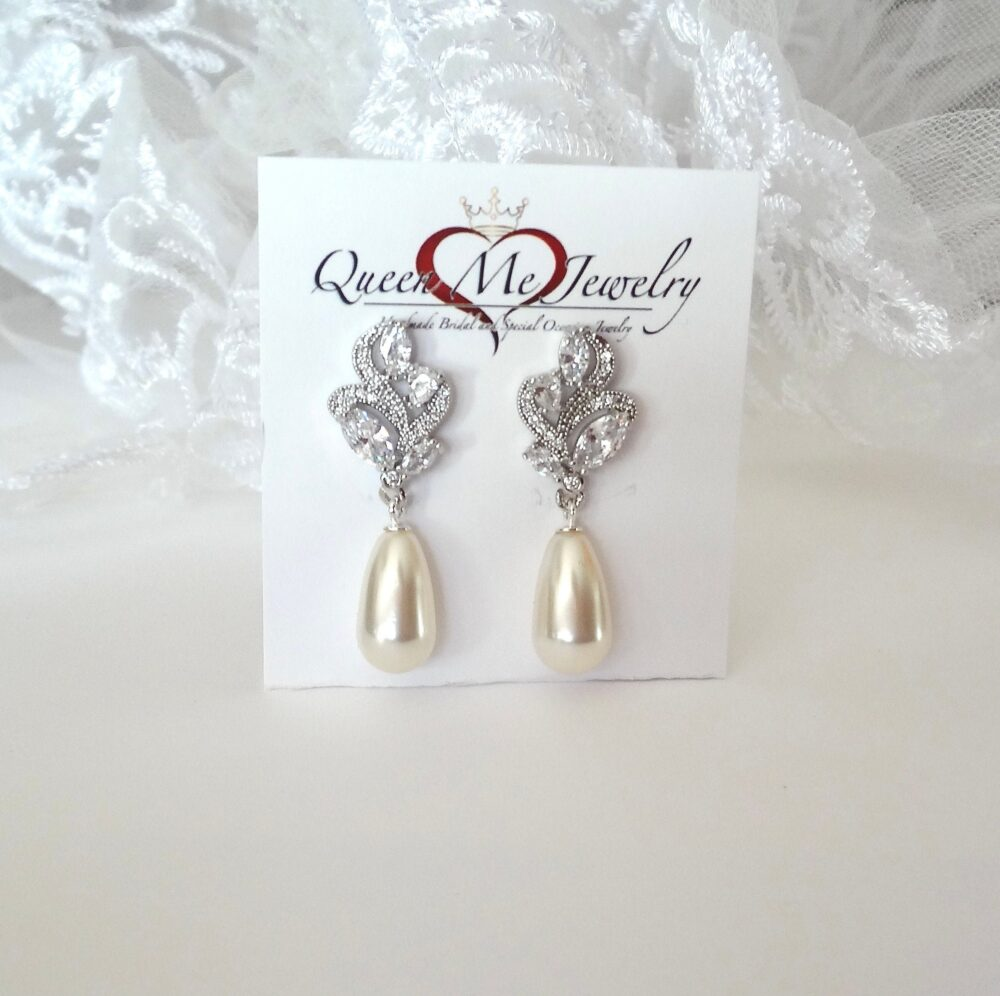 Dainty Pearl Drop Wedding Earrings For A Bride, Cz Leaf Swarovski Earrings, Bridesmaids Mother Of The Bride Bridal Jewelry. Lilly