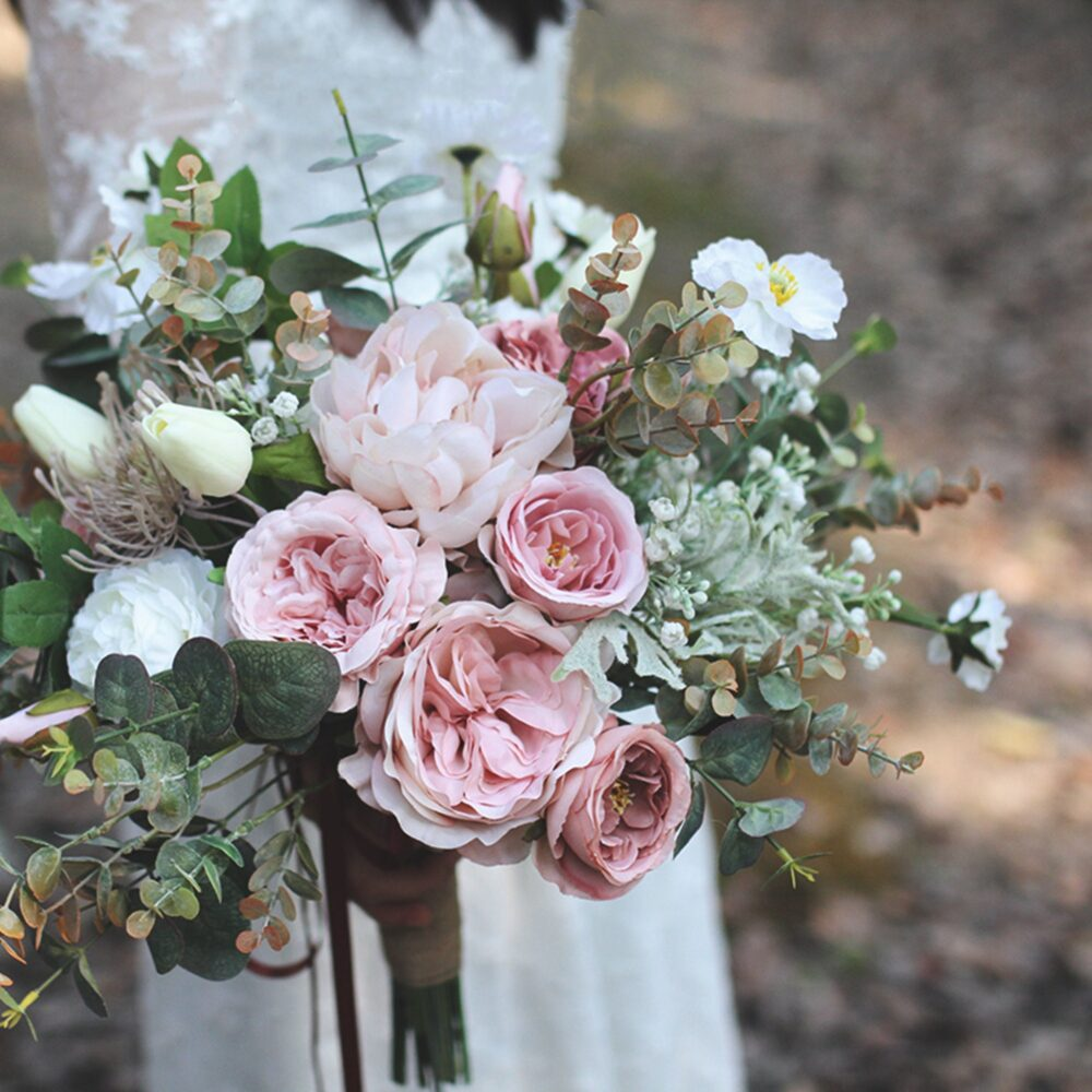 Dusty Pink Wedding Bridal Bouquet, Bush & White Rustic Boho Bouquet For Classic Wedding, Made in Rose, Peonies Eucalyptus