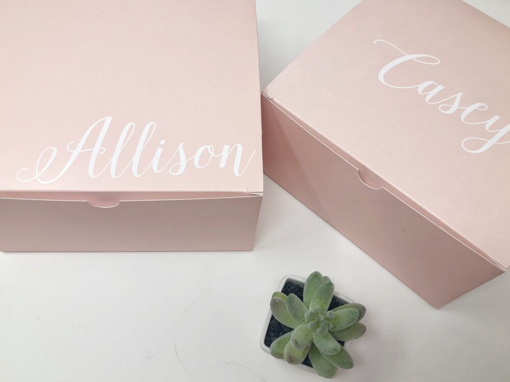 Large Pink Gift Box - Bridesmaid Proposal Boxes - Personalized Box With Name - Blush Wedding Party Favor Bridal