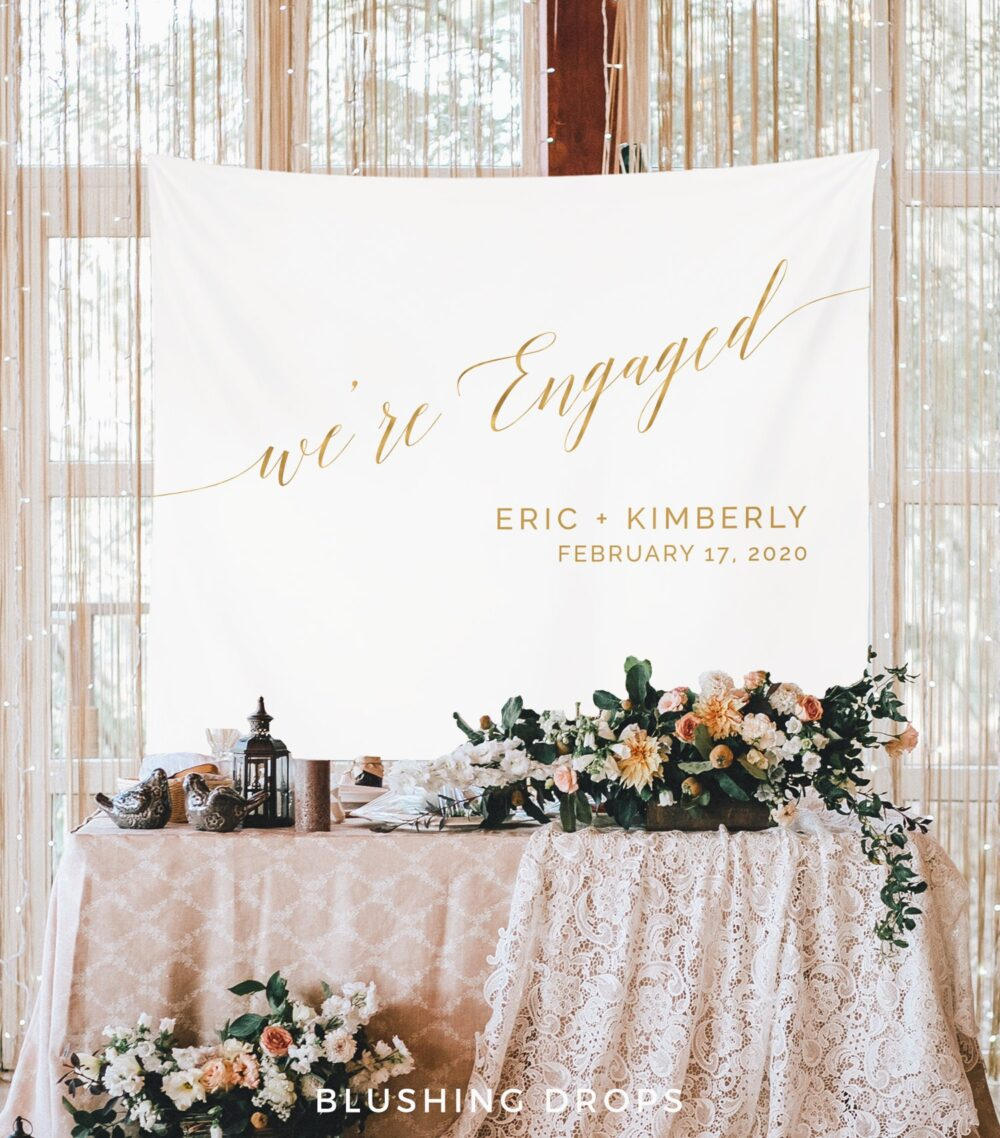 We're Engaged Banner, Gold Engagement Party Decor, Rustic Sign, Couples Props, Ideas