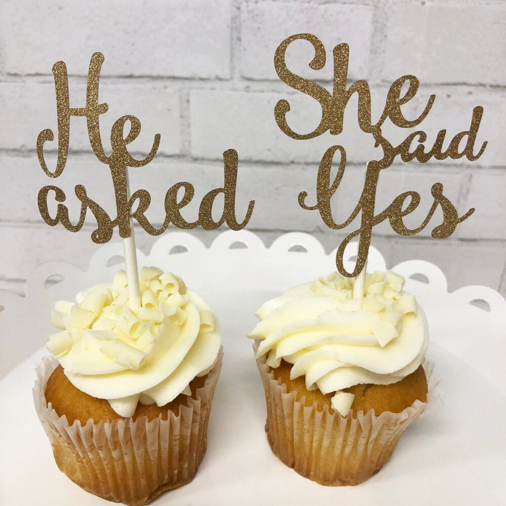He Asked She Said Yes Cupcake Toppers, Engagement Party Decor, Custom Parties By Partyatyourdoor On Etsy