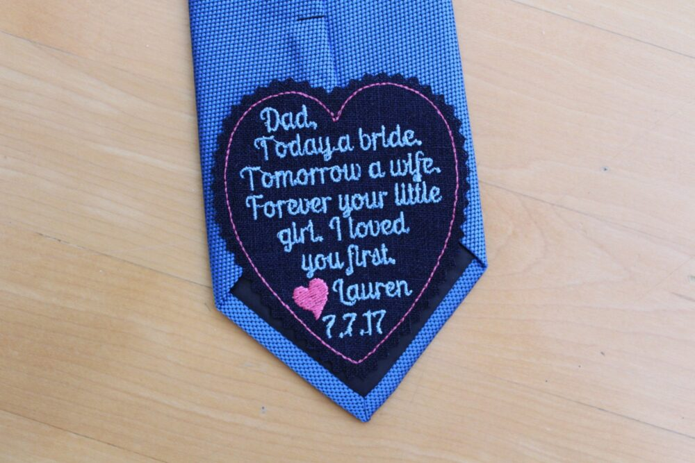 Dad I Loved You First Wedding Heart Tie Patch, Tie Label, Beautiful Embroidered Patches.father Of The Bride Gift
