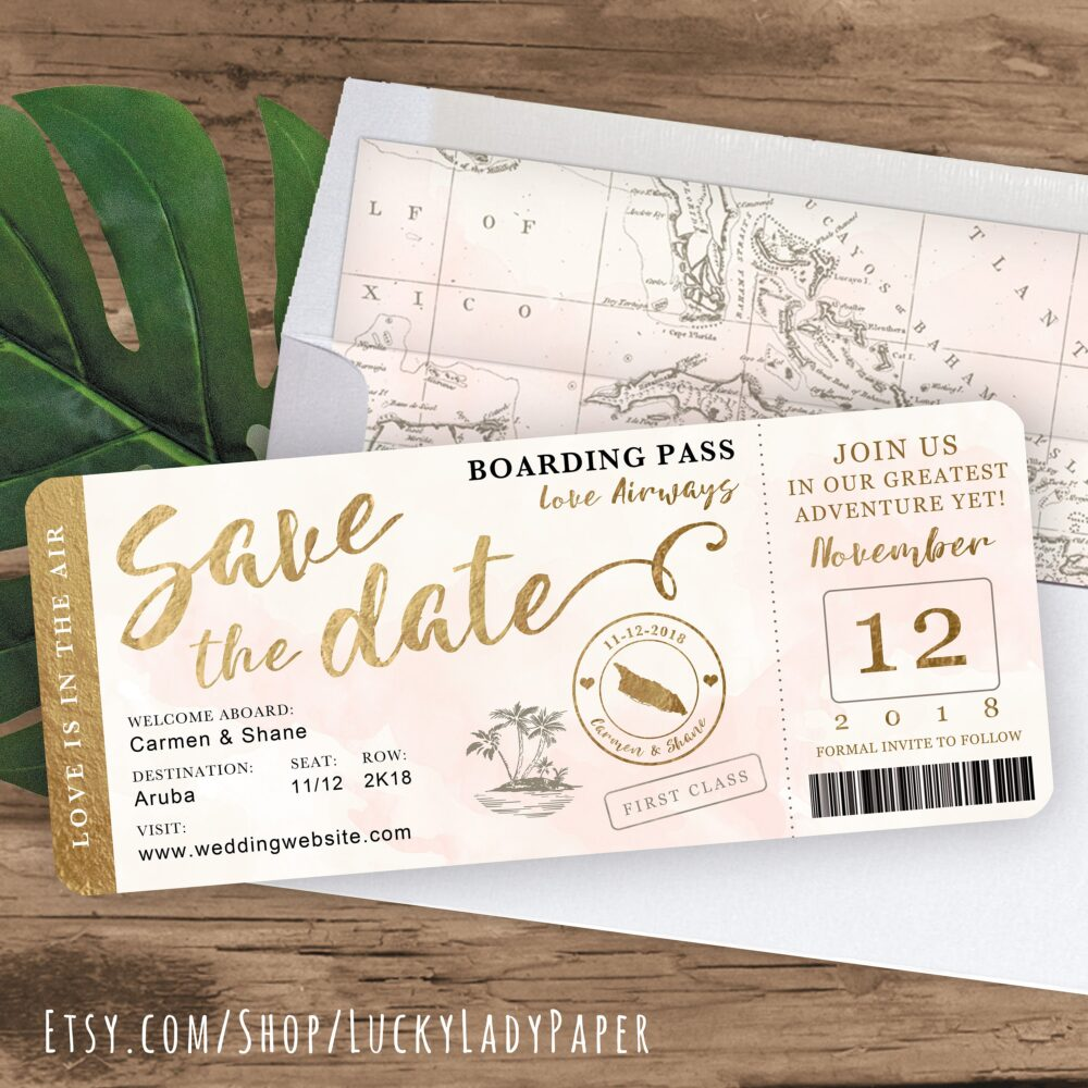 Destination Wedding Boarding Pass Save The Date Invitation in Gold & Blush Watercolor By Luckyladypaper - See Item Details To Order