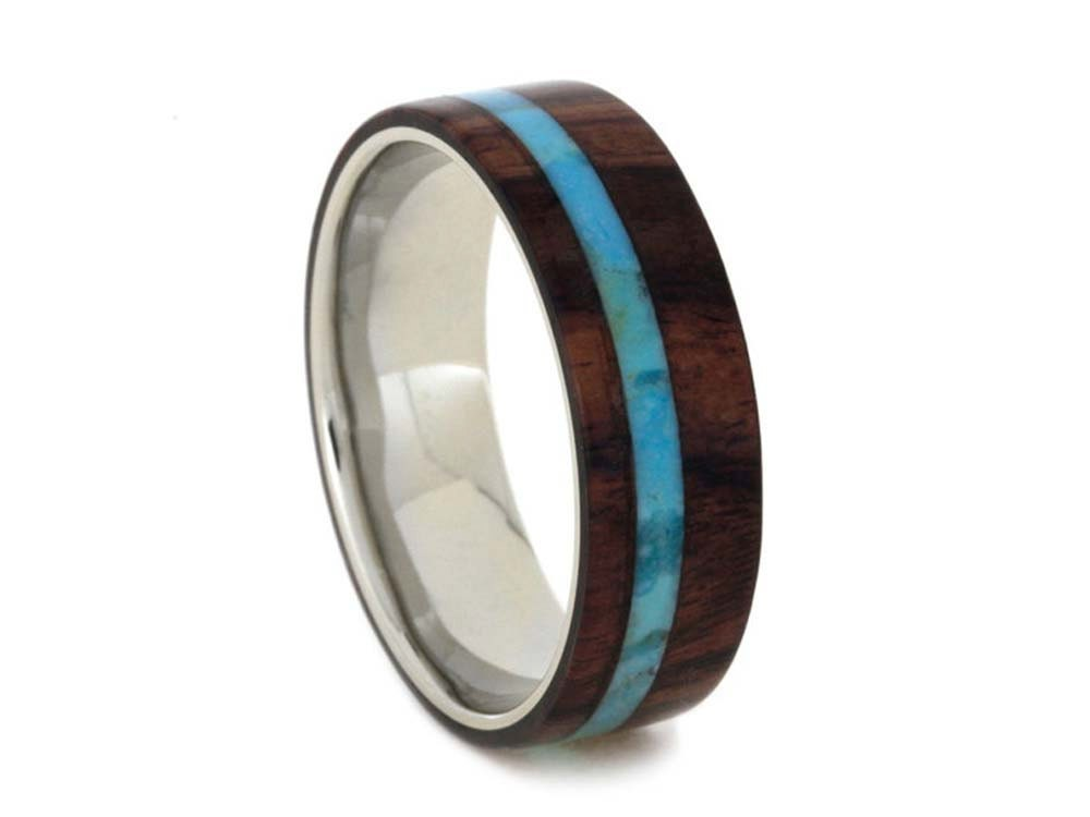 Turquoise & Wood Wedding Ring, Authentic Ring For Him Or Her, Blue Band