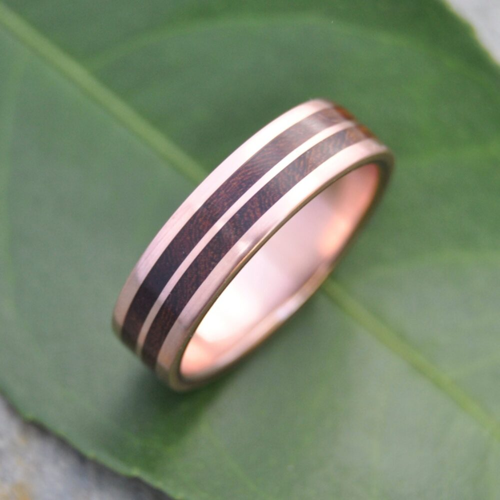 Rose Gold Wood Ring, Wooden Wedding Band, Mens Custom Lados Linea Nacascolo