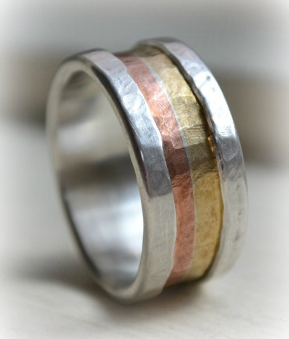Mens Retro Wedding Band - Marriage Of Metal Fine Silver With 14K Yellow & Rose Gold Handmade Lining Customized