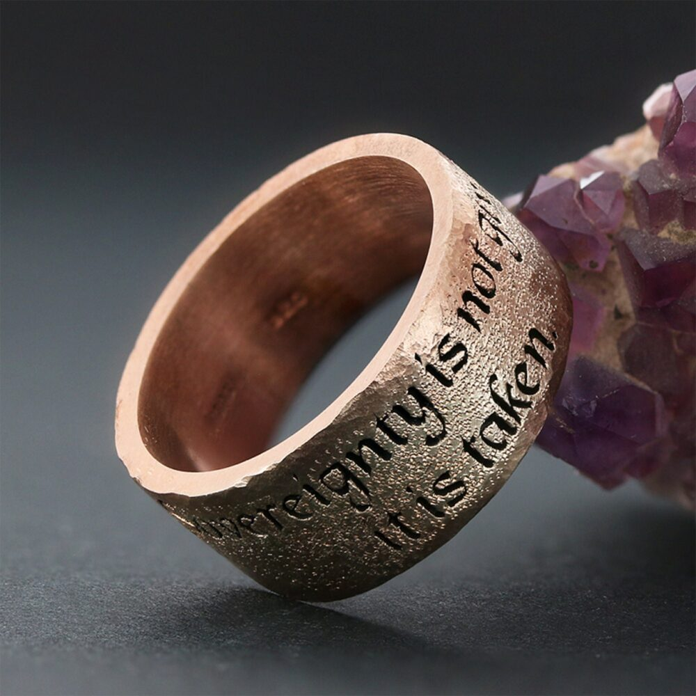 Custom Wedding Ring , Rose Gold Band Jewelry Gift For Him