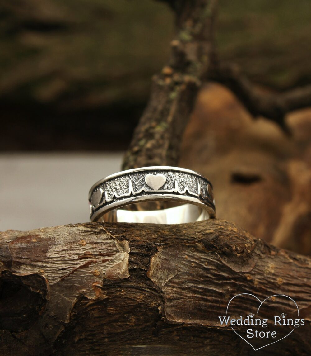 Unique Heartbeat Wedding Band in Silver, Heart Ring, Pulse Silver Unusual Band, Men's Women's Ecg Ring