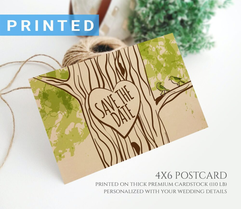Forest Wedding Save The Dates Postcard | Custom Date Postcards Printed On Kraft Paper Personalised Cards