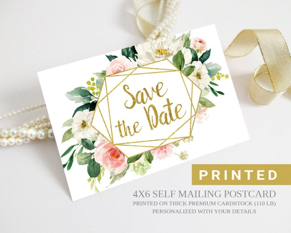 Printed Save The Date Postcards Personalized With Your Info   Floral Save Date Postcard
