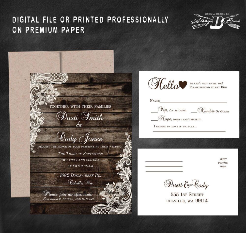 Rustic Wedding Invitation & Rsvp | Wood Lace Invitations Country Western Invites Invite Printed Or Printable