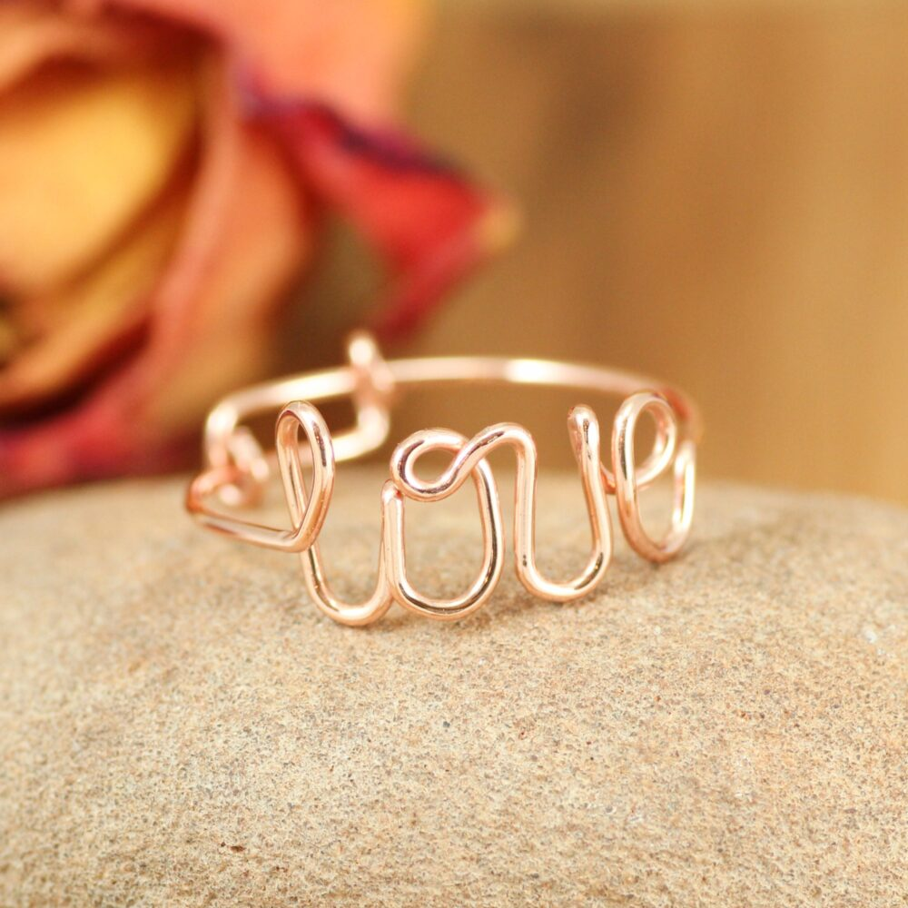 Love Ring Copper, Adjustable Thumb Ring, Cursive Love Valentine's Gift, Girlfriend Anniversary Romantic Couple Gift, Knuckle