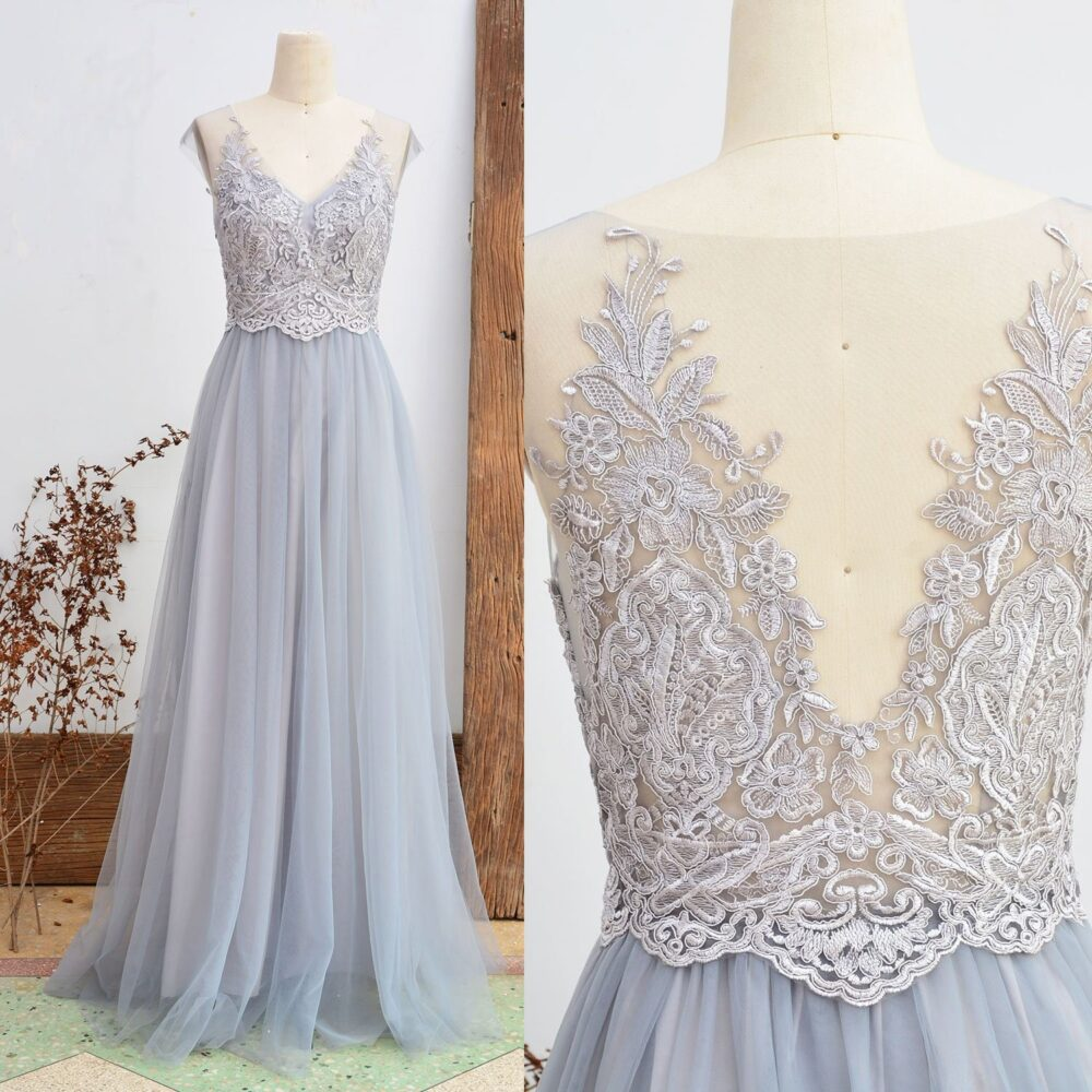 Lace Bridesmaid Dress Dusty Grey Wedding Party Vintage Tulle Women Long Prom 2018 A Line Etsy Floor Length Mesh