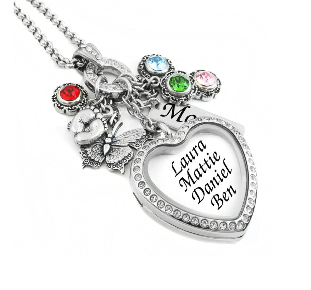 Mom Jewelry, Personalized Necklace, Mother Pendant, Gift For Mom, Grandma, Nana, Mother's Locket, Heart Locket