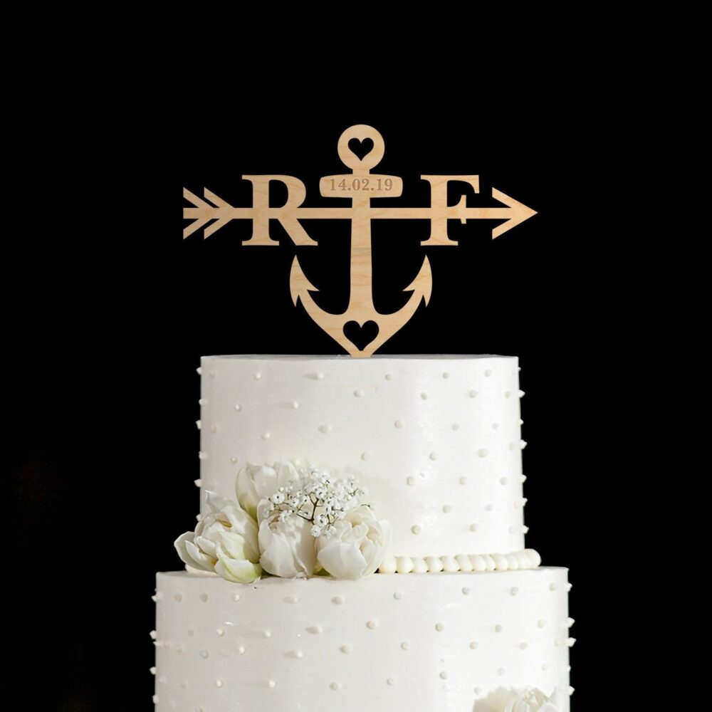 Arrow Wedding Cake Topper, Anchor Topper, Arrow With Initials Topper, Cake Topper Date, Heart Arrow, 95