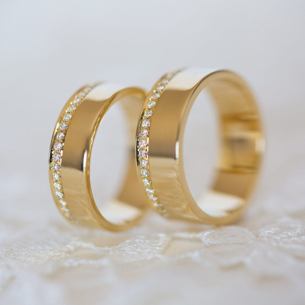 Wedding Band Set, His & Hers Ring, Diamond Bands Men Yellow Gold, Wide Band, 14K Eternity 6mm, 5mm