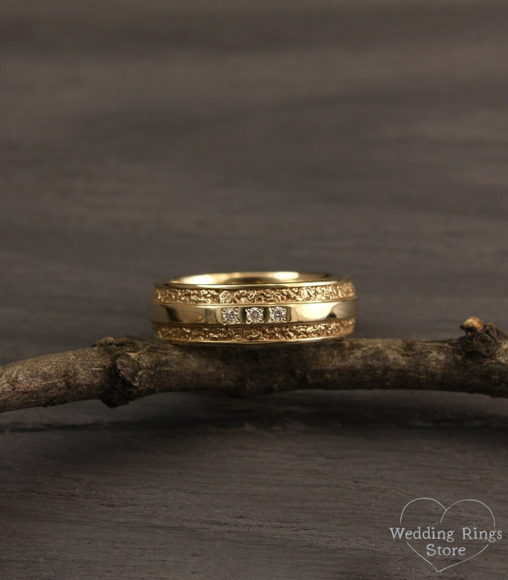 Unusual Men's Diamond Band in 14K Solid Gold, Wild Relief Ring, Unique Wedding Band, 6mm Wide Gold Bold