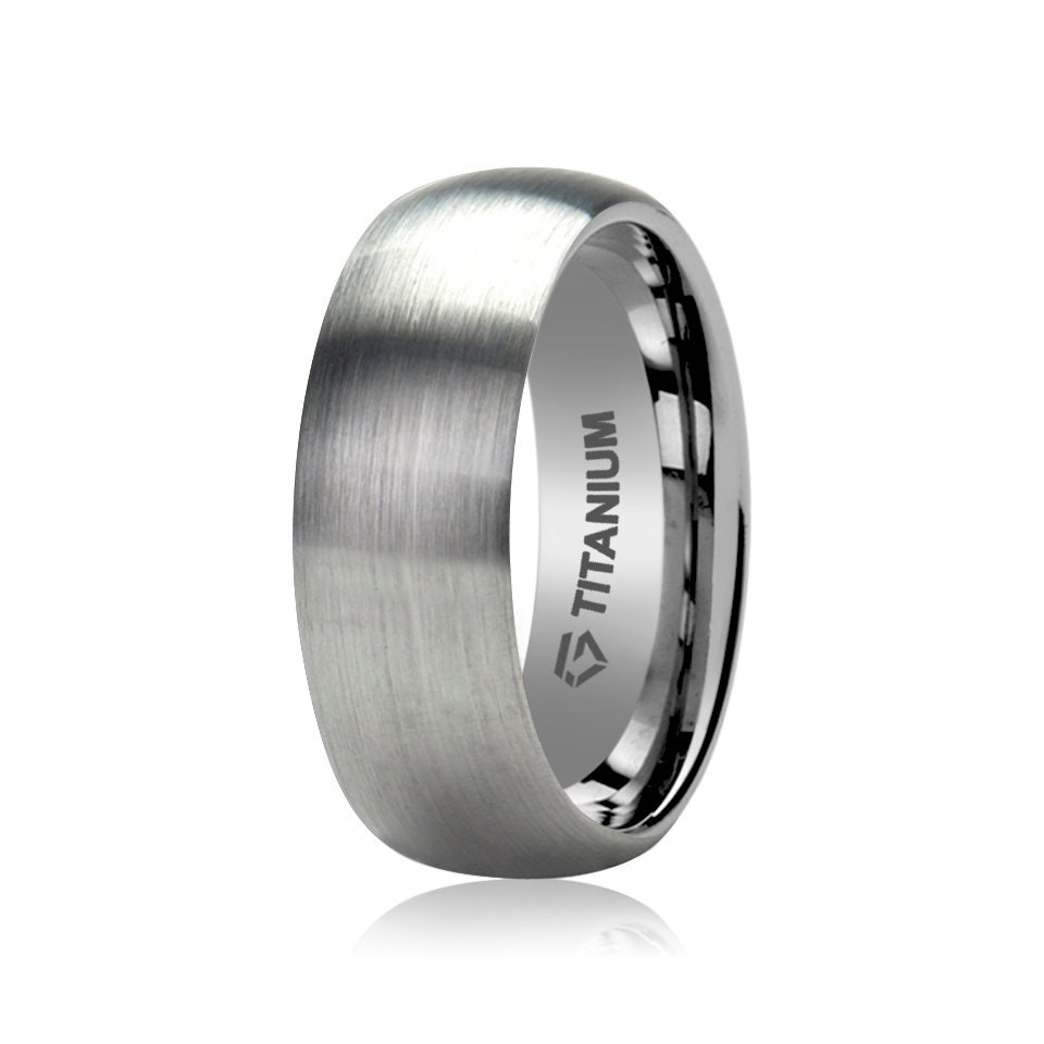 Titanium Ring With A Domed Shape, Mens Wedding Band, Brushed Domed, Anniversary Ring, Gift For Him & Her, Personalized Promise Ring