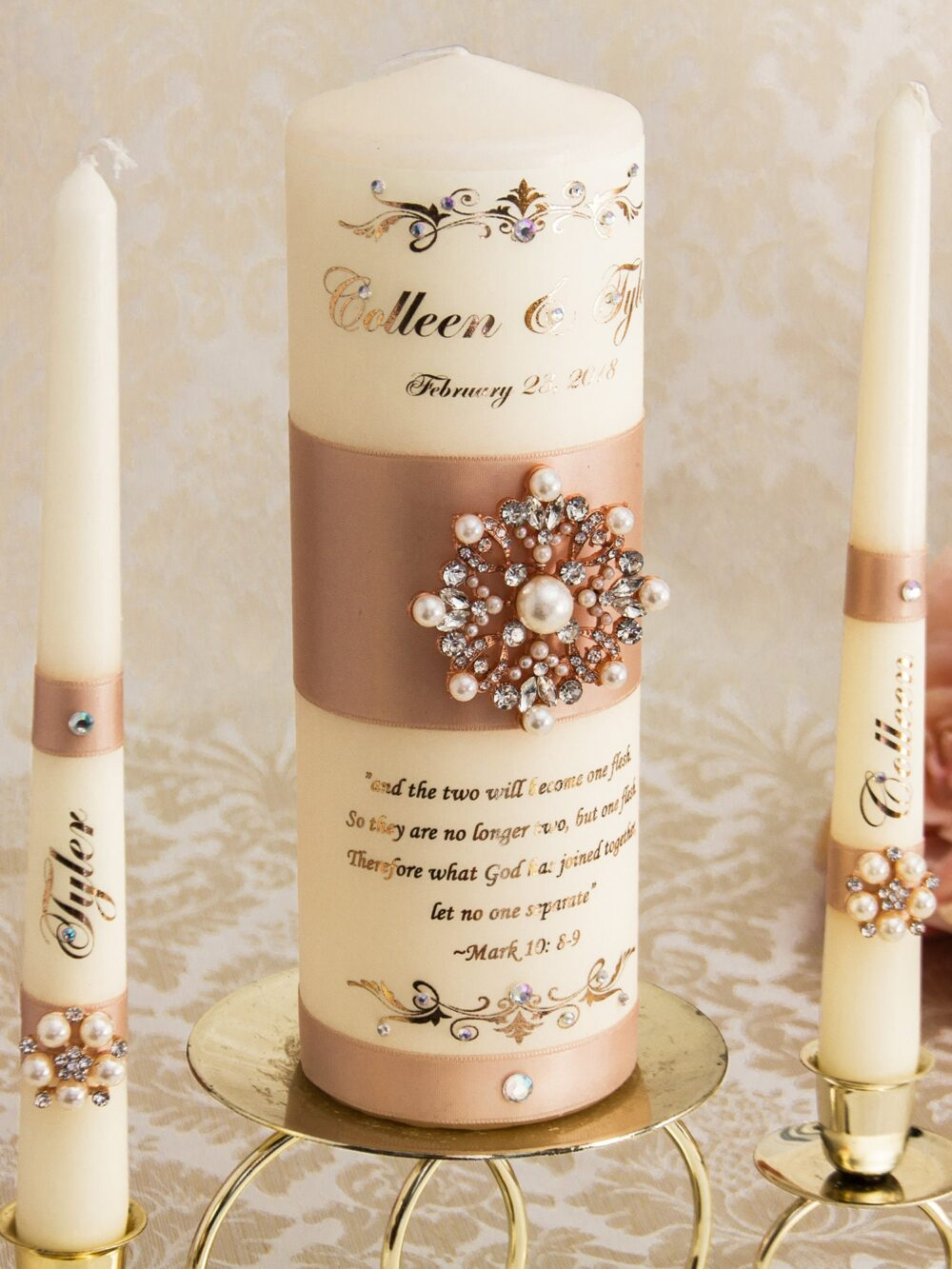 Rose Gold Wedding Unity Candle Set, Blush Candles Pearl Personalized