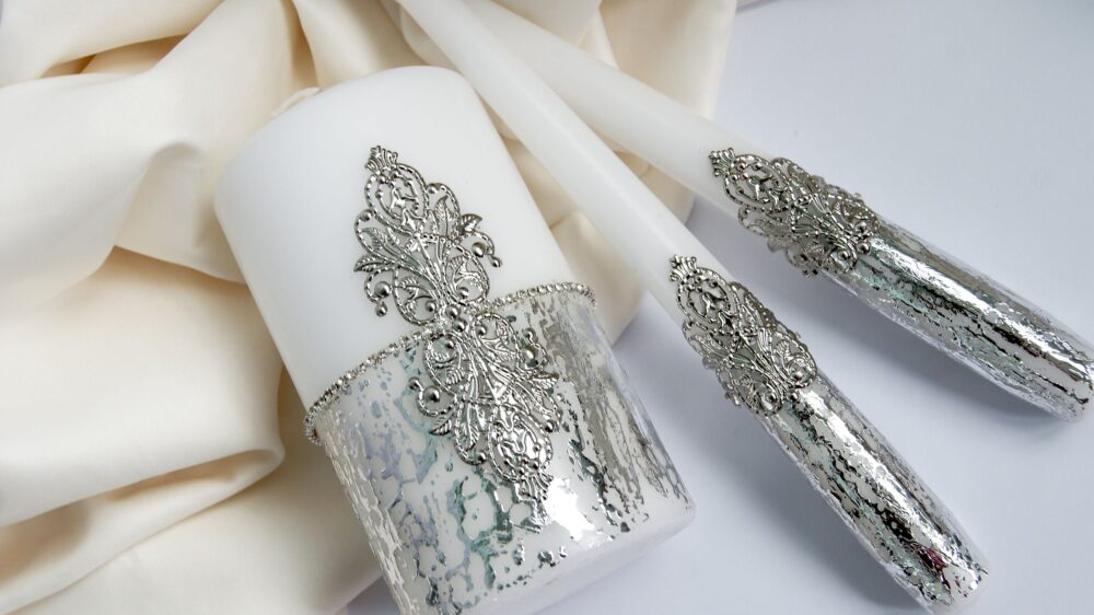 Silver Wedding Unity Candles Set Mr & Mrs Ceremony Bling Crystal For Memorial
