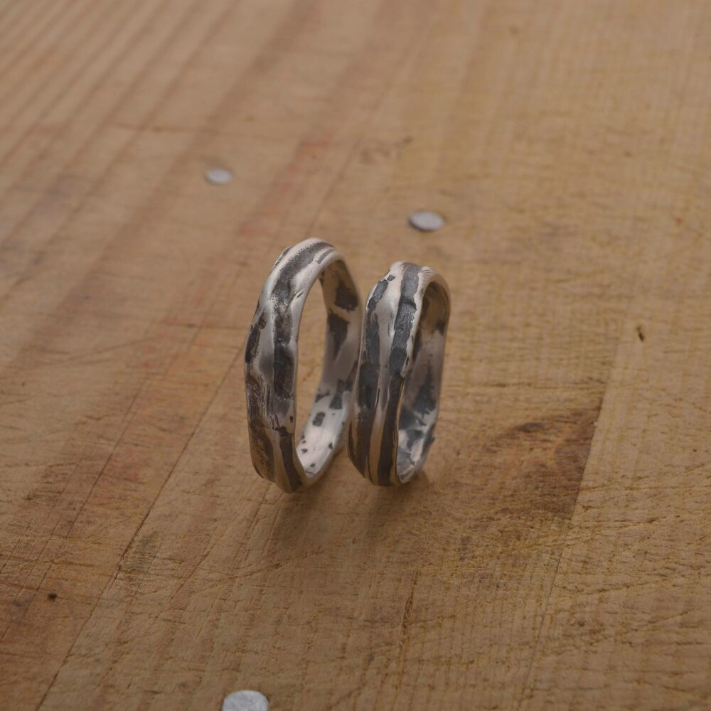 Alternative Wedding Band Set, Sterling Silver Bands, Unique Rings Be98