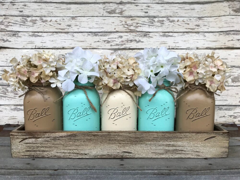 Mason Jar Decor Centerpiece   Flowers Optional -Antique Wood Tray Rusty Handles - 5 Ball Canning Painted Quart Jars Distressed Red White Blue
