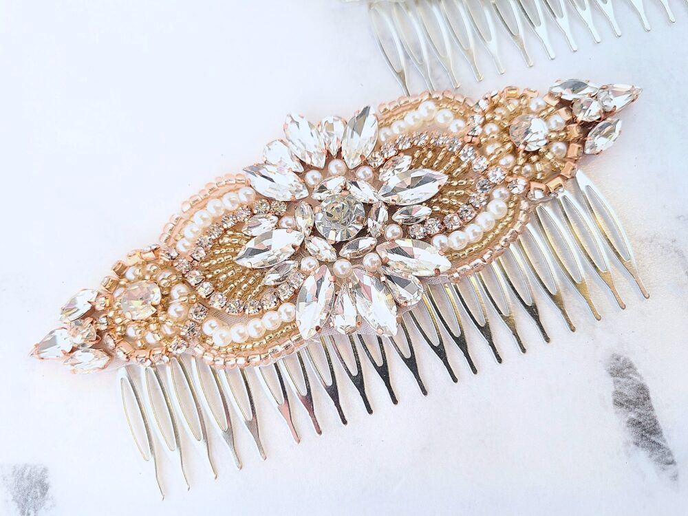 Rose Gold Wedding Hair Comb, Silver Crystal Rhinestone Bridal Pieces, Combs For Wedding, Sparkly