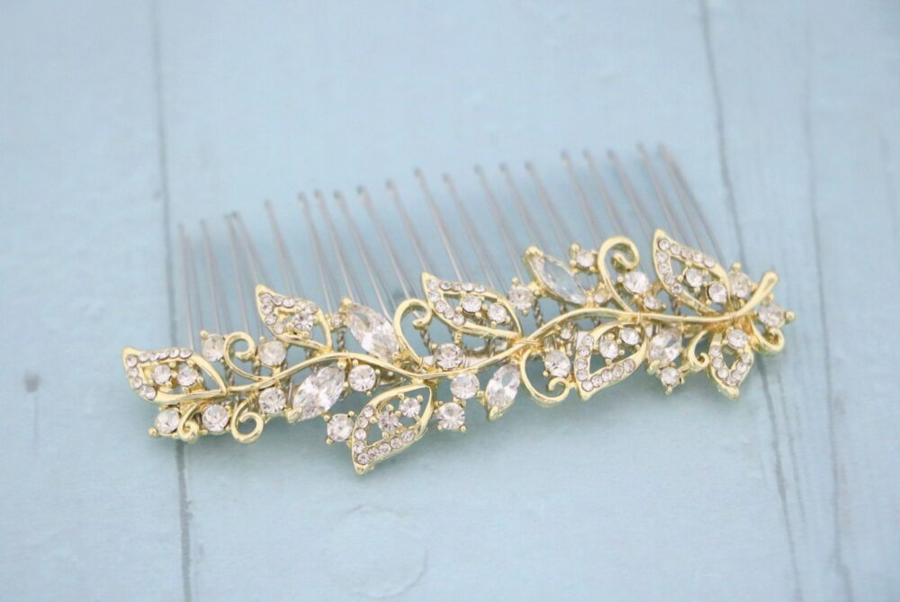 Gold Wedding Hair Comb Side Rose Gold in Vintage Style Bridal Crystal Side Headpiece