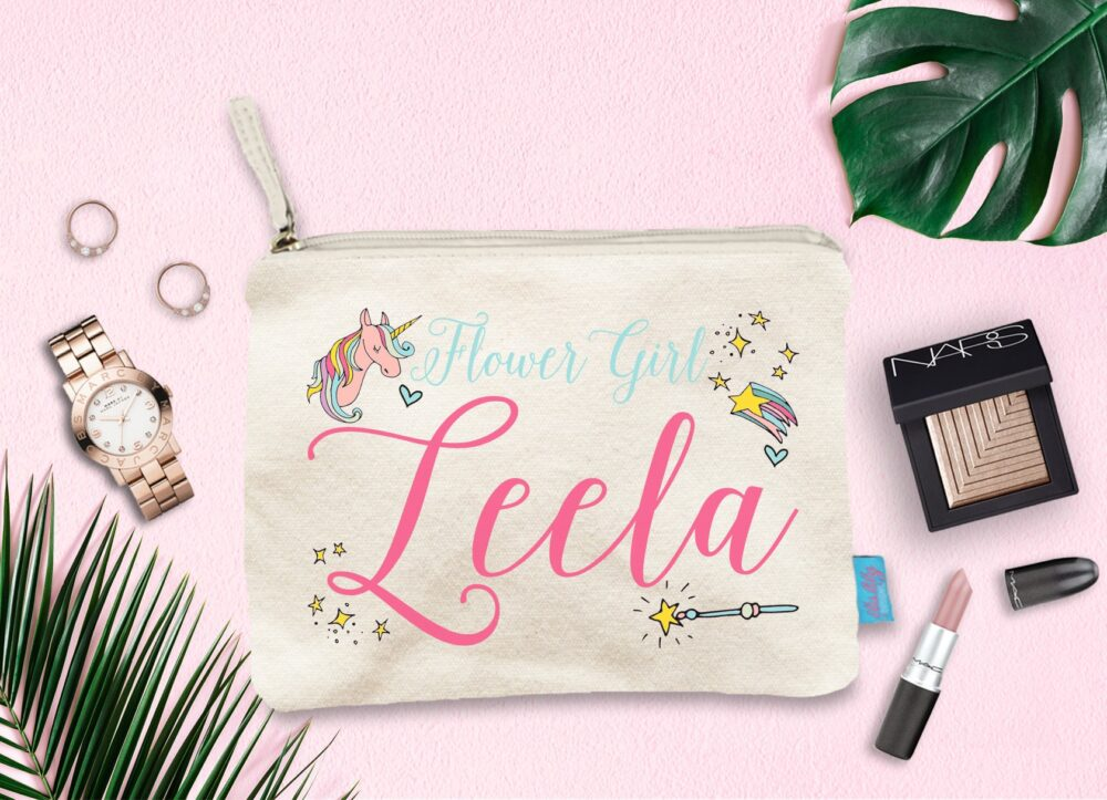 Flower Girl Personalized Magic Unicorn Make Up Bag, Cosmetic Initial Bags, Makeup Bag Girl, Pouch