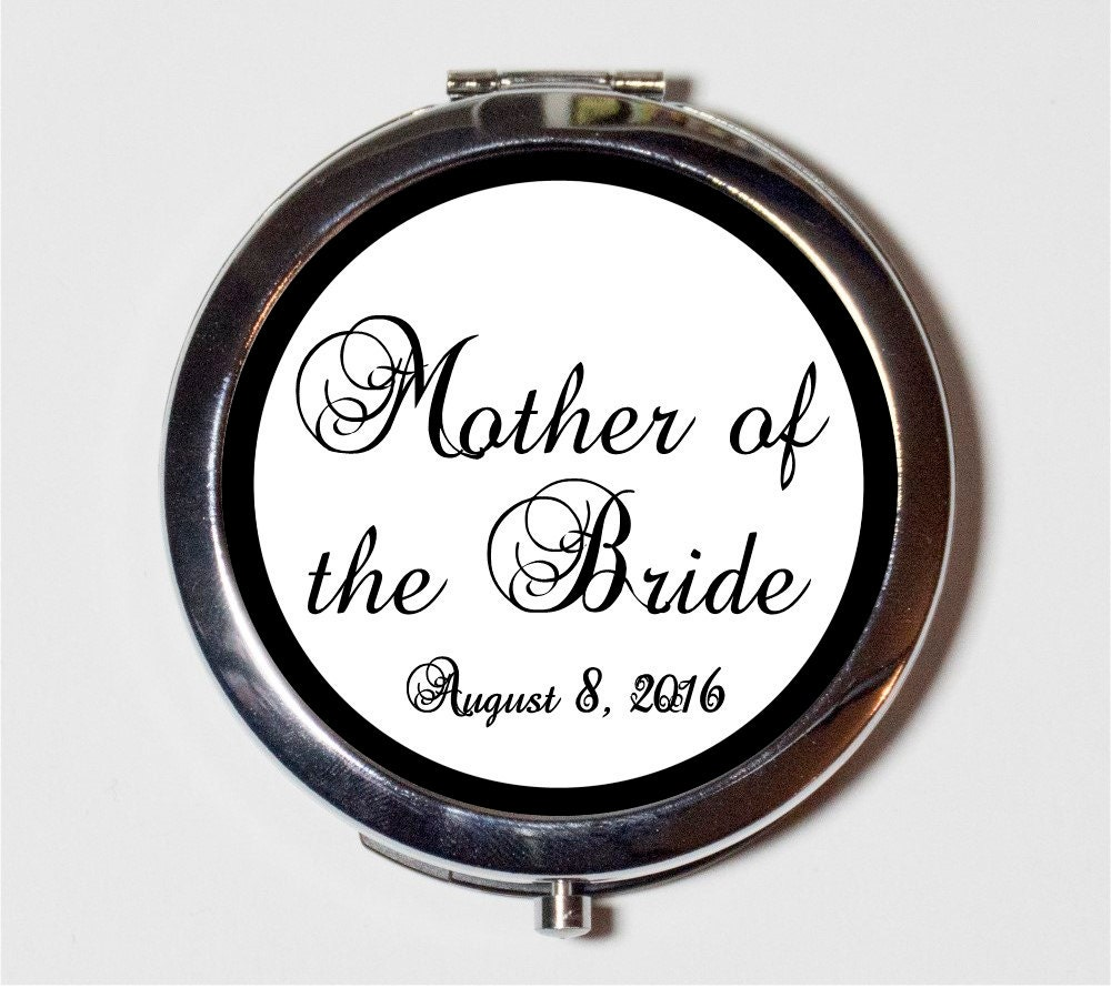 Mother Of The Bride Wedding Party Compact Mirror - Customized With Your Date Bridal Gift Make Up Pocket For Cosmetics