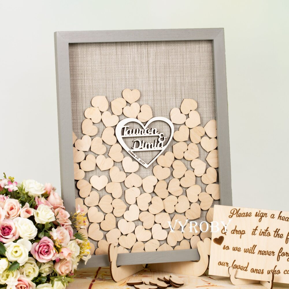 Personalized Wedding Guest Book Alternative Wood Wedding Sign in Guestbook Drop Box