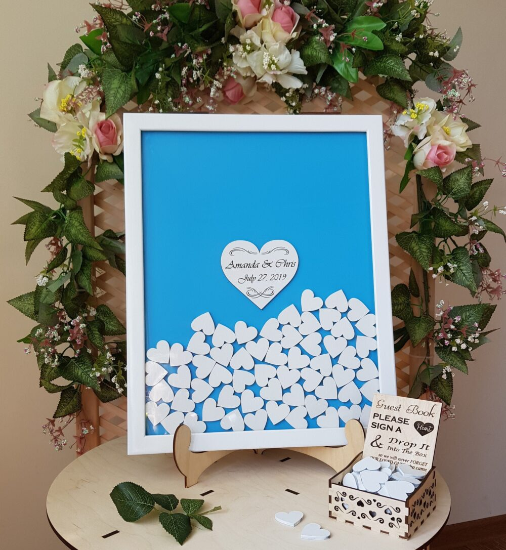 Sky Blue Wedding Guest Book, Alternate Guestbook, Birthday Drop Top Box, Engraved Wooden 1st Bidthay Guestbook Sign