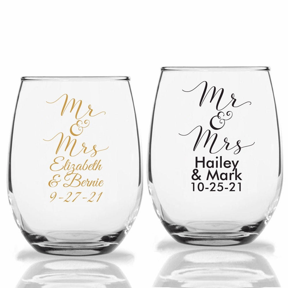 24+ Mr. & Mrs. Wedding Wine Glass, Personalized Stemless Glasses, & Cup Party Favors