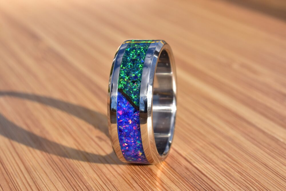 Wedding Ring, Stainless Steel Ring With Crushed Starry Night & Dark Green Opals
