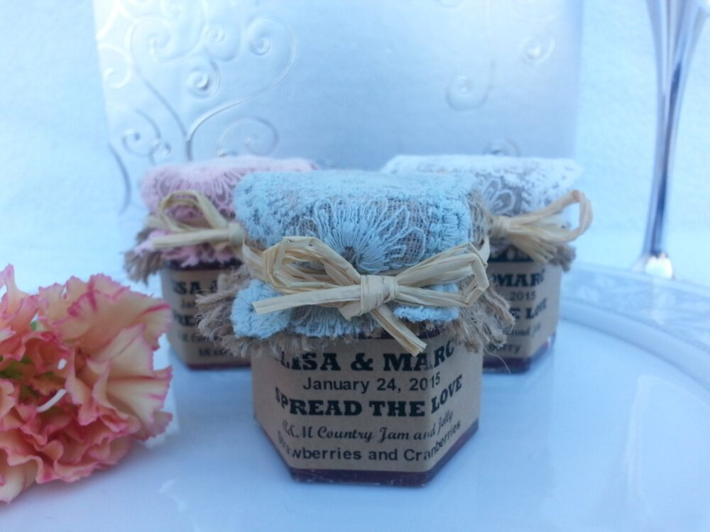 Spread The Love Laced Wedding Favors Jam & Jelly50-1.5 Oz Jars with Choice Of Flavors, Personalized Labels, Laced Burlap Topper Ribbon
