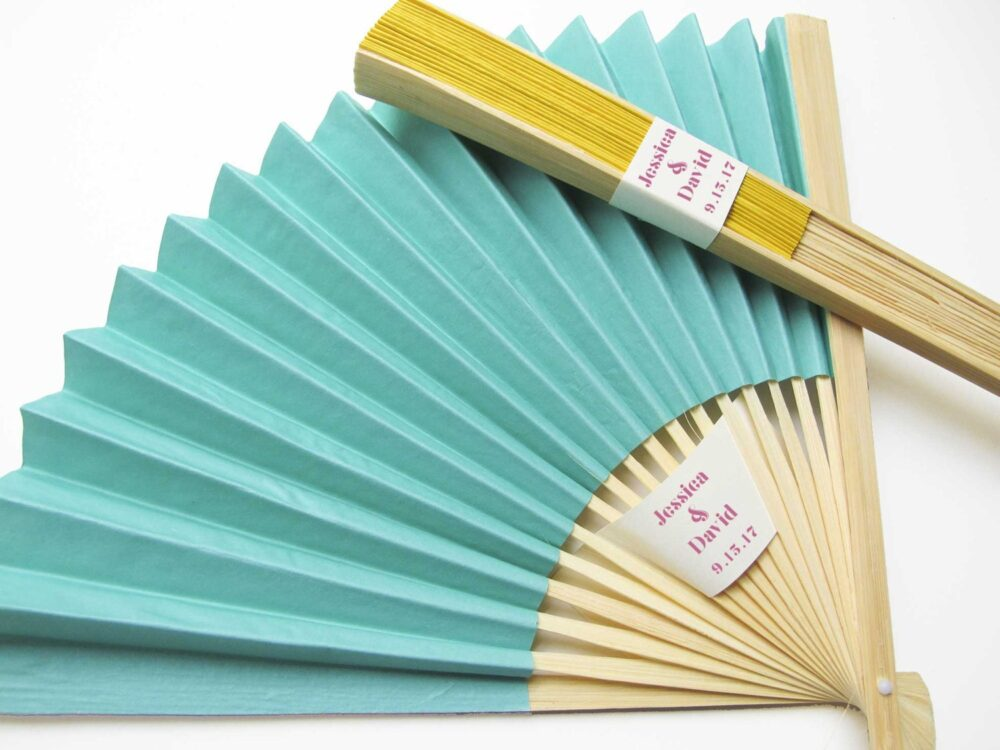 Personalized Fans 100 Set - Paper Fan Wedding Favors Party Hand Bridal Shower Gifts More Colors