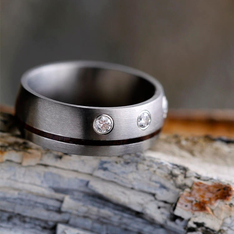 Diamond & Wood Men's Wedding Band, Unique Ring With Bezel Set Stones, Customize Other Types And/Or Gemstones