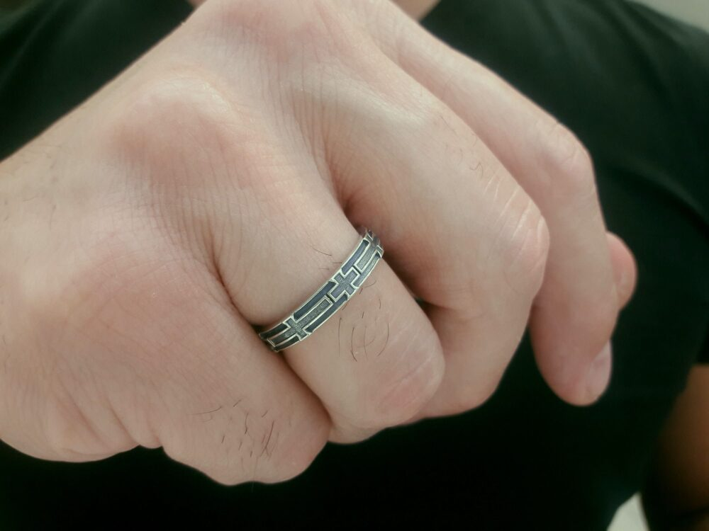 Cross Band, Woman Band Rings, Men Band Religious Cross Ring, Silver Band, Unisex Ring Gift, Wedding