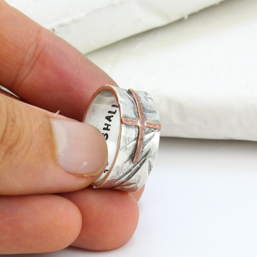 Silver Cross Ring - Hammered Men's Band Wide For Women Gift Men Personalized Engraving Inside Christian