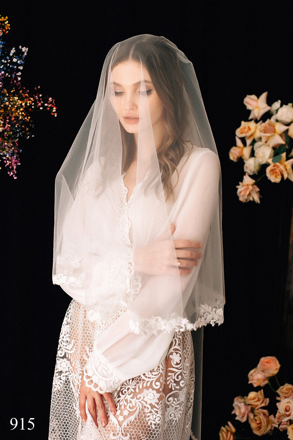Lace Wedding Veil Lenore, Bridal Veil, Chapel Cathedral Veil , Tulle Cathedral Length, With Comb, One Tier