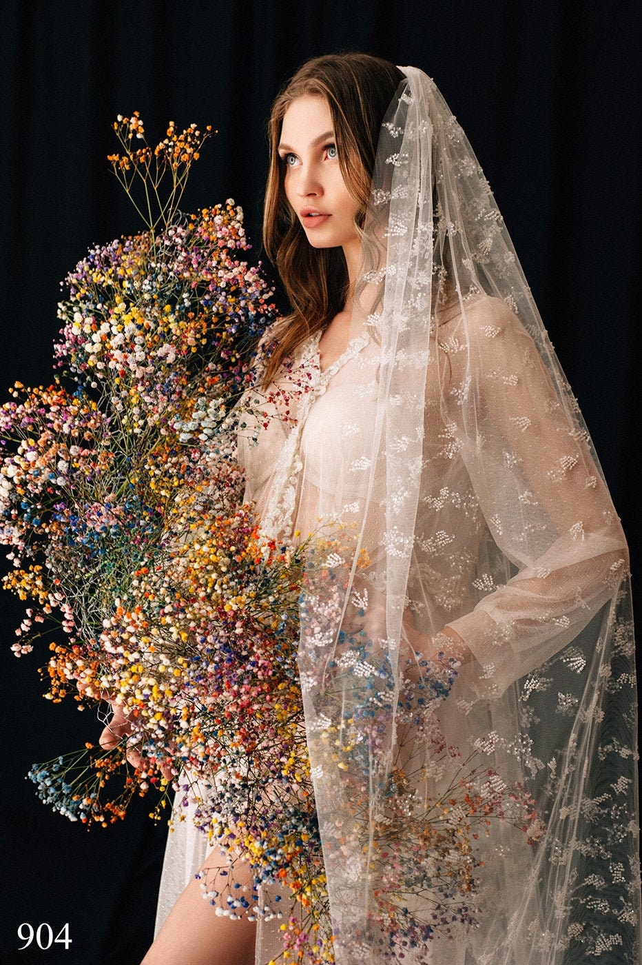 Wedding Veil Cornelia, Bridal Veil, , Cathedral Veil Tulle Cathedral Length, With Comb, One Tier