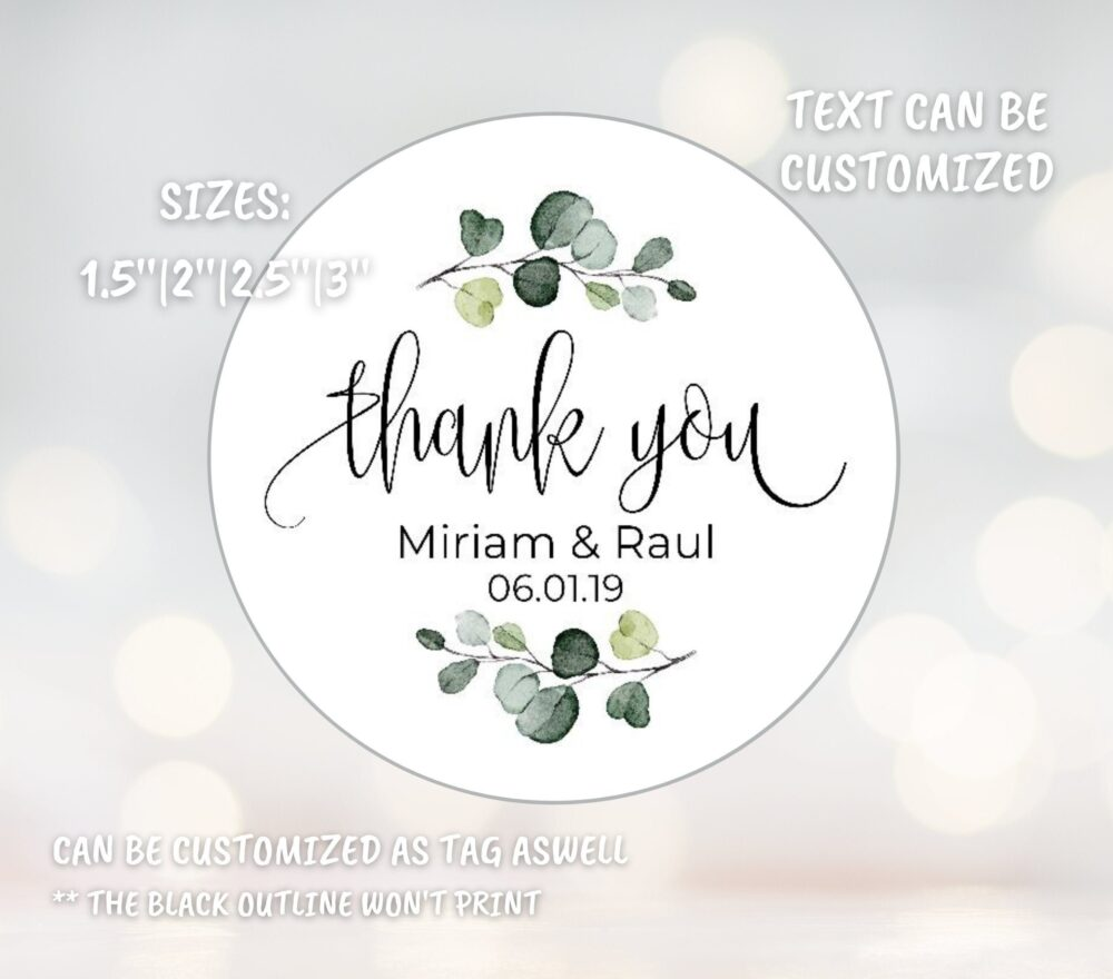 Wedding Favor Stickers, Thank You Personalized Greenery Foliage Stickers