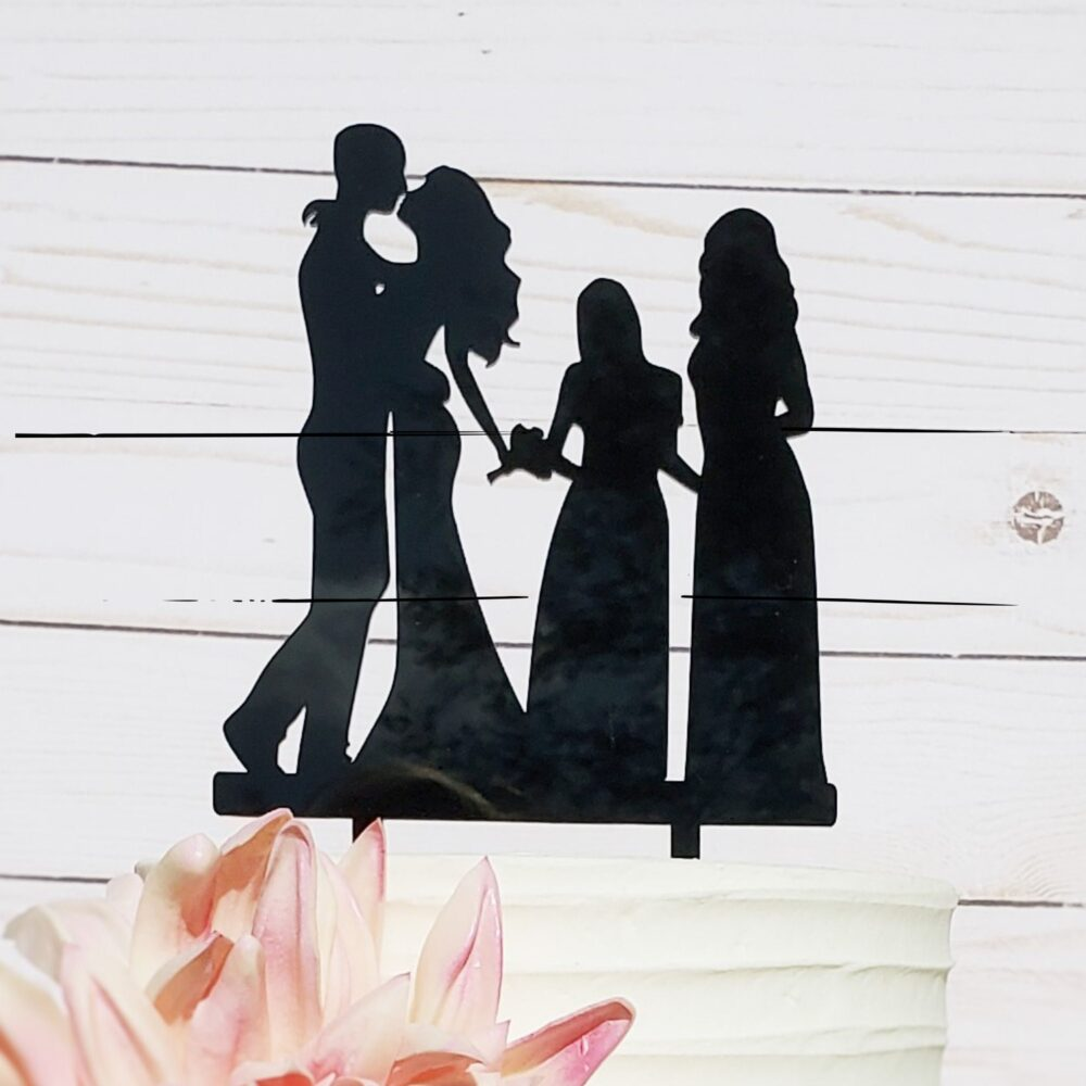 Custom Family Wedding Cake Topper, Wedding, Silhouette Cake, Topper With Kid, Perso, A2