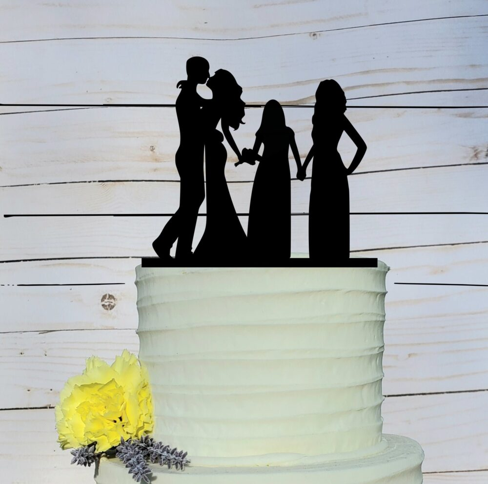 Family Cake Topper, Wedding, Wedding Silhouette Cake, Topper With Kids, Daughter, A2